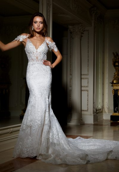 Deep Sweetheart Neckline Beaded Lace Fit And Flare Wedding Dress by Eve of Milady