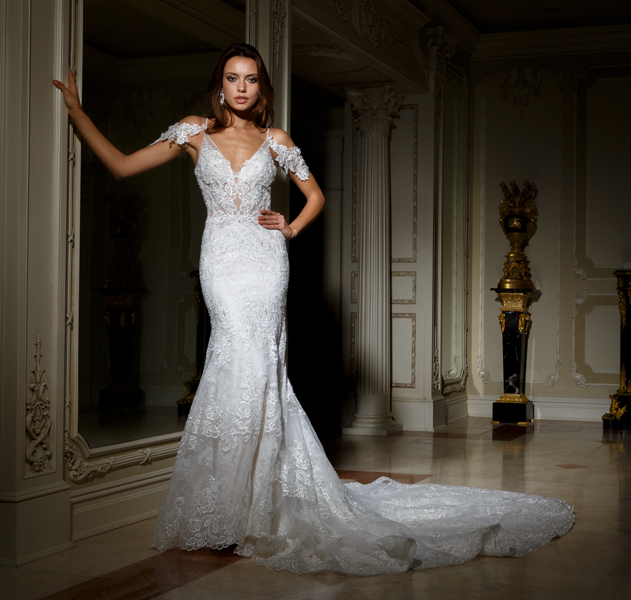 Deep Sweetheart Neckline Beaded Lace Fit And Flare Wedding Dress ...