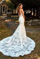 Deep V-neck Beaded And Embellished Lace Fit And Flare Wedding Dress by Eve of Milady - Image 2