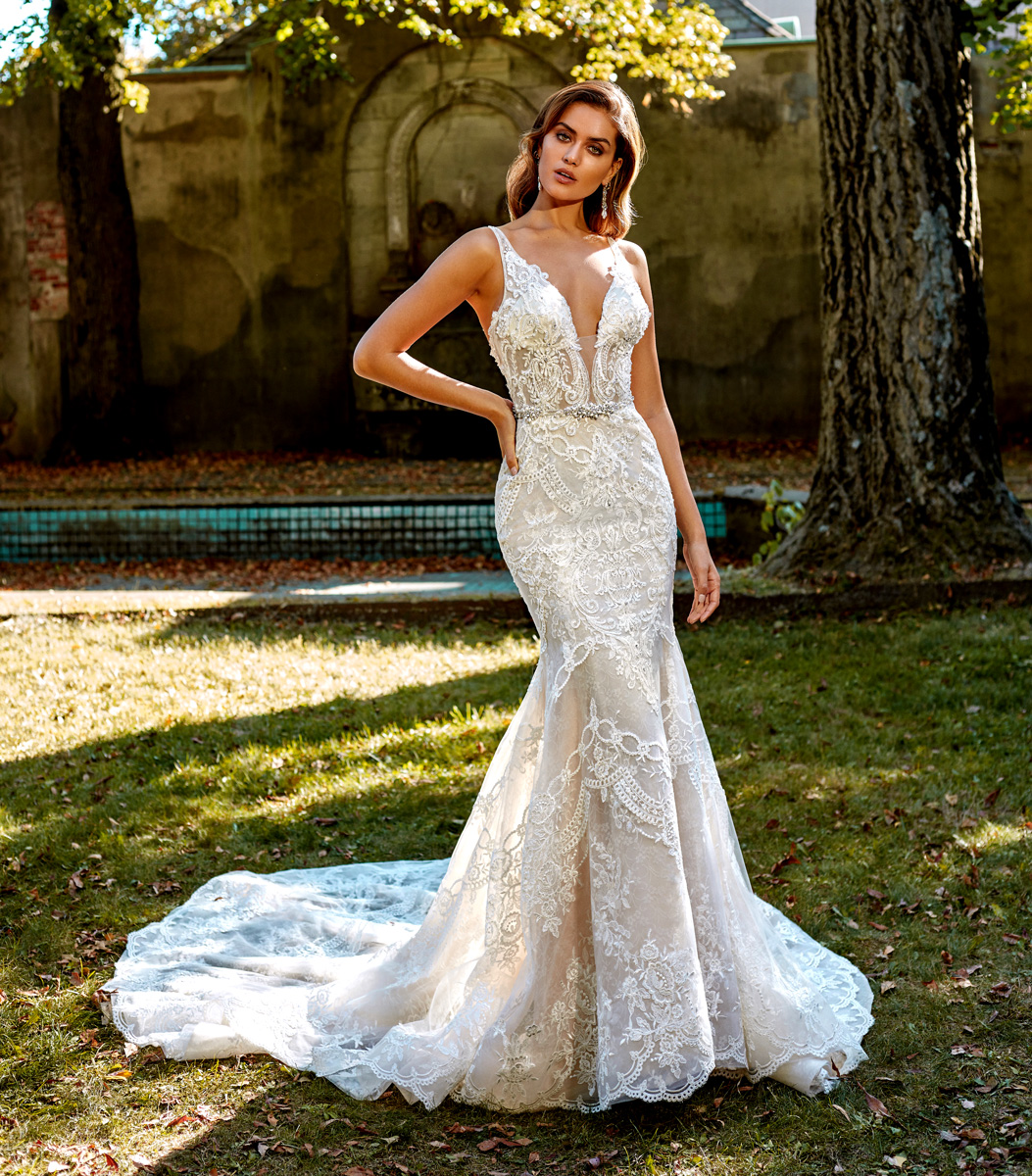 Wedding Gown Stores Nyc: Deep V-neck Beaded And Embellished Lace Fit And Flare