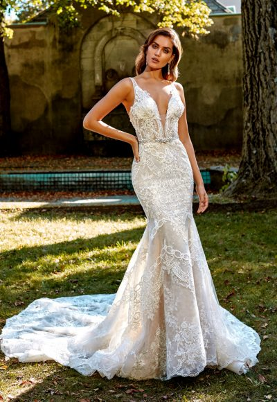 Deep V-neck Beaded And Embellished Lace Fit And Flare Wedding Dress by Eve of Milady