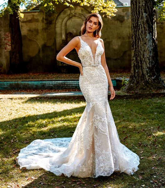 Deep V Neck Beaded And Embellished Lace Fit And Flare Wedding Dress