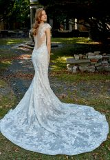 Deep V-neck Cap Sleeve Beaded Lace Applique Fit And Flare Wedding Dress by Eve of Milady - Image 2