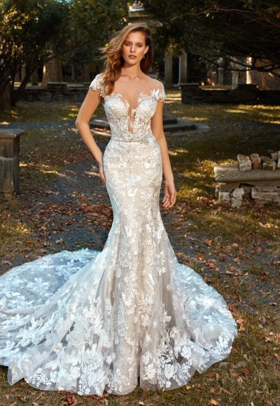 Deep V-neck Cap Sleeve Beaded Lace Applique Fit And Flare Wedding Dress by Eve of Milady
