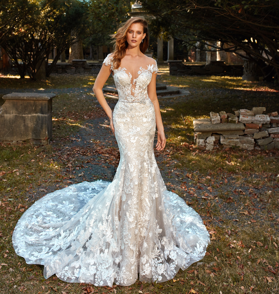 Deep V-neck Cap Sleeve Beaded Lace Applique Fit And Flare Wedding ...