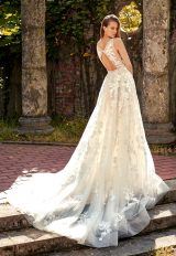 Deep V-neck Lace Applique Beaded Belt Fit And Flare Wedding Dress by Eve of Milady - Image 2