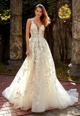 Deep V-neck Lace Applique Beaded Belt Fit And Flare Wedding Dress by Eve of Milady - Image 1