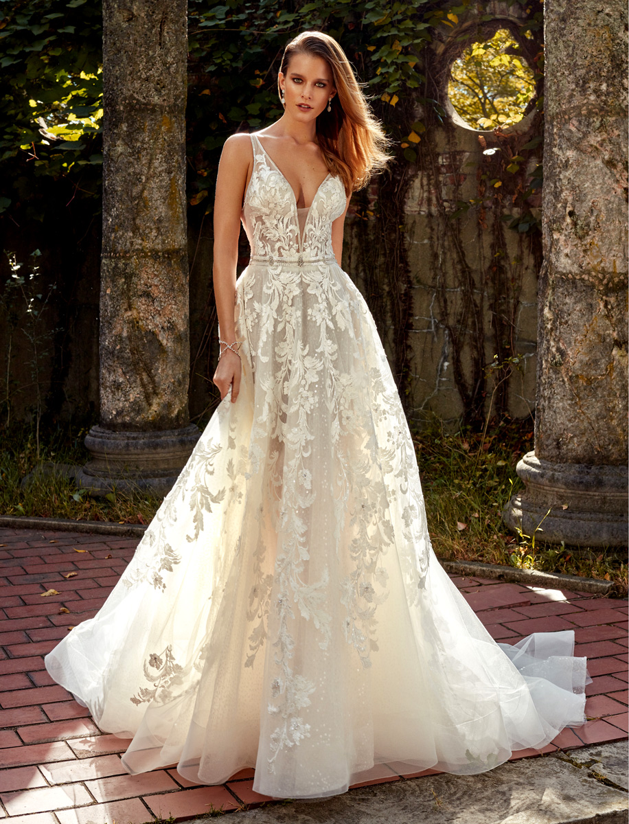 Deep V Neck Lace Applique Beaded Belt Fit And Flare Wedding Dress