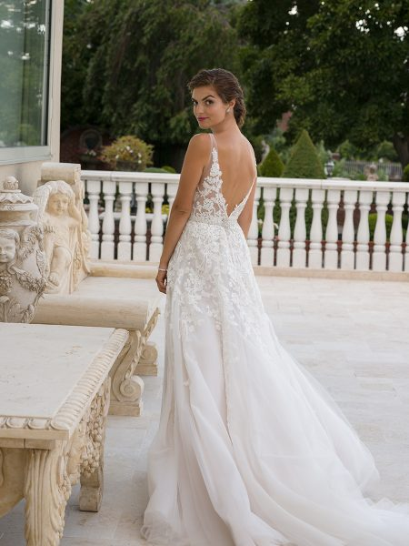 Embroidered Applique V-neck Sleeveless A-line Wedding Dress by Eve of Milady - Image 2