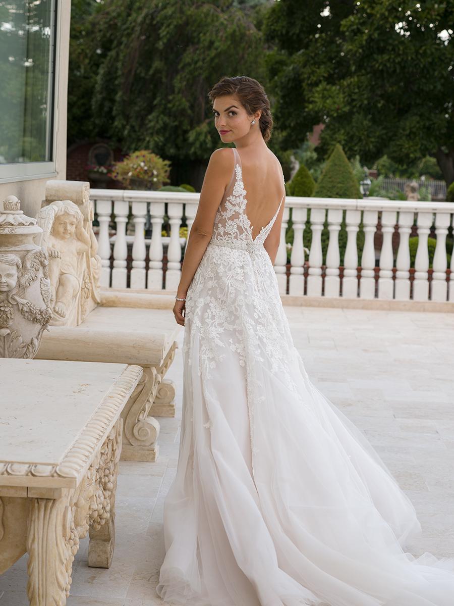 Embroidered Applique V-neck Sleeveless A-line Wedding Dress ...