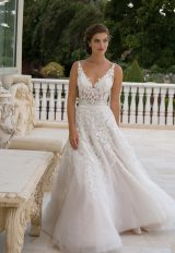 Embroidered Applique V-neck Sleeveless A-line Wedding Dress by Eve of Milady - Image 1