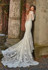 Long Sleeve Beaded And Embellished V-neck Fit And Flare Wedding Dress by Eve of Milady - Image 2