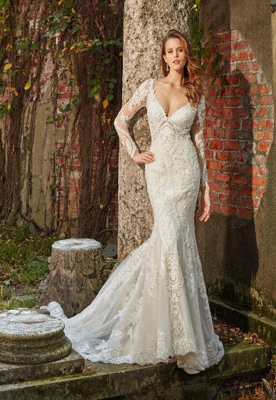 Long Sleeve Beaded And Embellished V-neck Fit And Flare Wedding Dress by Eve of Milady
