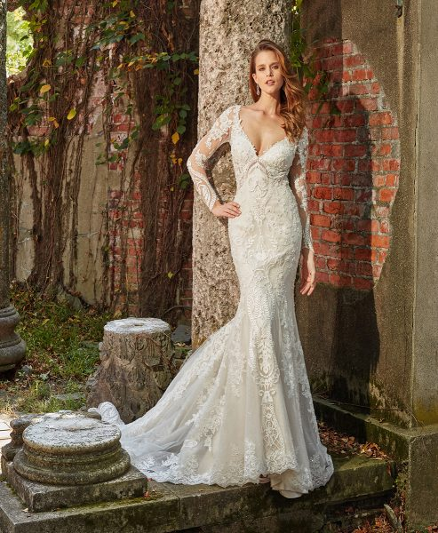 Long Sleeve Beaded And Embellished V-neck Fit And Flare Wedding Dress by Eve of Milady - Image 1