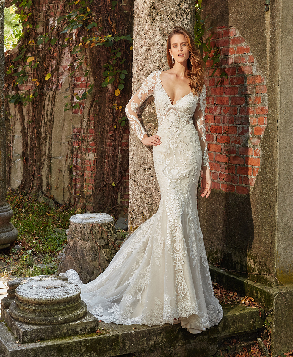 Long Sleeve Beaded And Embellished V-neck Fit And Flare Wedding ...