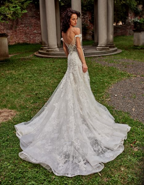 Off-the-shoulder A-line Beaded And Embroidered Wedding Dress by Eve of Milady - Image 2