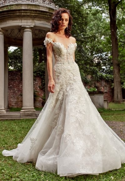 A-line Wedding Dress With Embroidery, Hand Beaded Lace, And ...