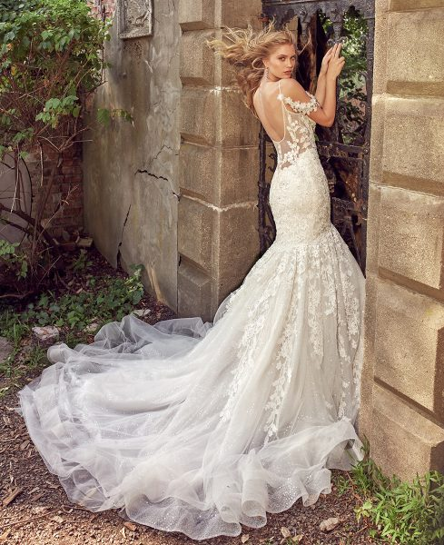 Off The Shoulder Beaded Lace Sweetheart Neck A-line Wedding Dress by Eve of Milady - Image 2