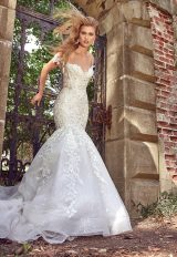 Off The Shoulder Beaded Lace Sweetheart Neck A-line Wedding Dress by Eve of Milady - Image 1