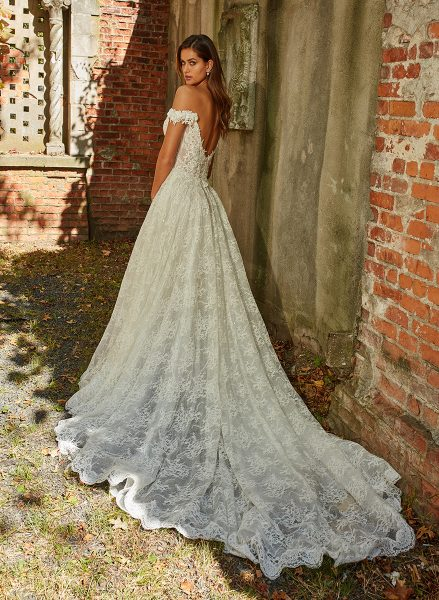 Off The Shoulder Beaded Lace Sweetheart Neckl A-line Wedding Dress by Eve of Milady - Image 2