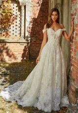Off The Shoulder Beaded Lace Sweetheart Neckl A-line Wedding Dress by Eve of Milady - Image 1
