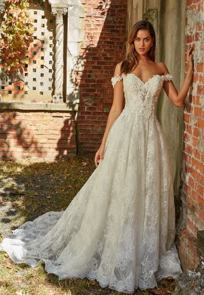 Off The Shoulder Beaded Lace Sweetheart Neckl A-line Wedding Dress by Eve of Milady