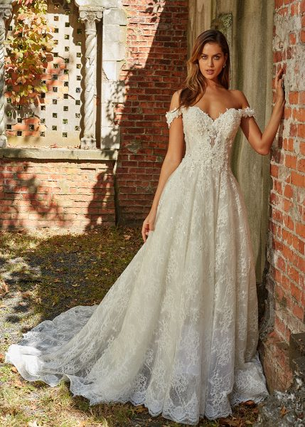 Off The Shoulder Beaded Lace Sweetheart Neckl A Line Wedding Dress By Eve Of Milady