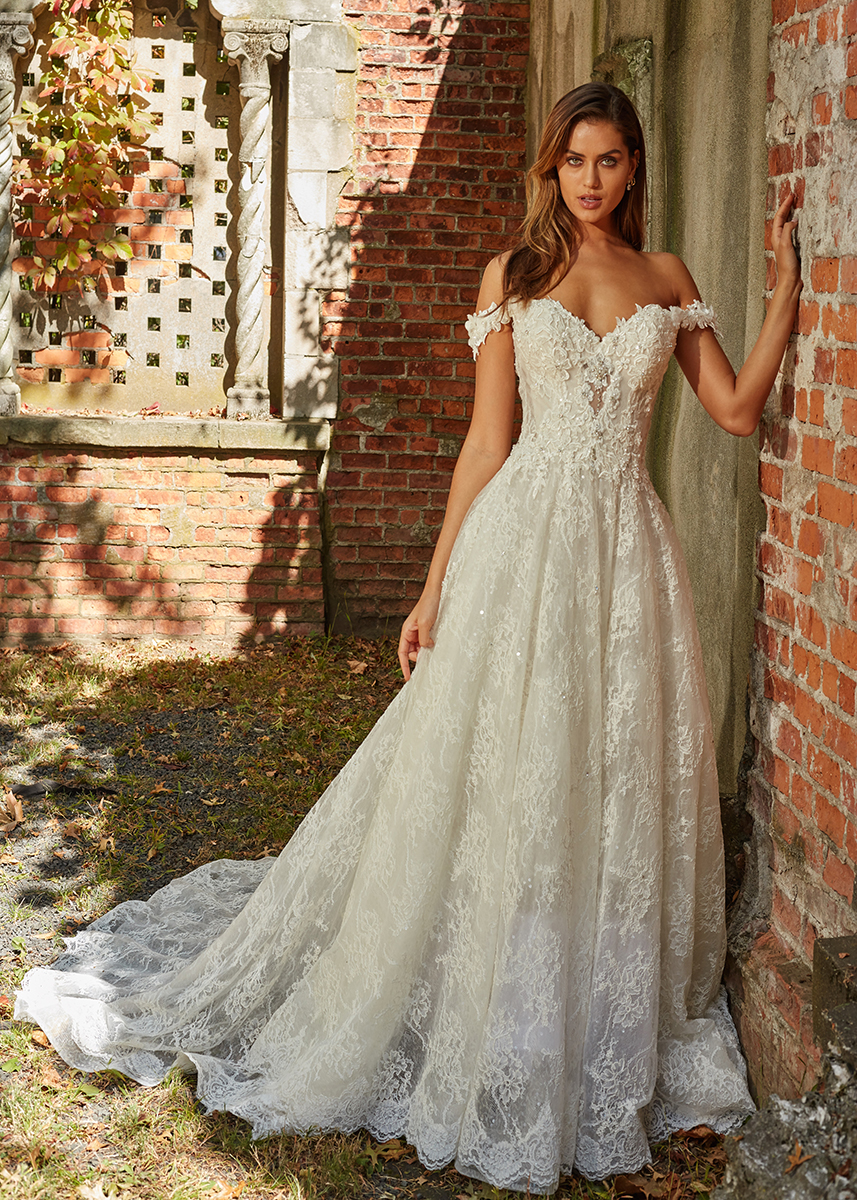 Off The Shoulder Beaded Lace Sweetheart Neckl A Line Wedding Dress