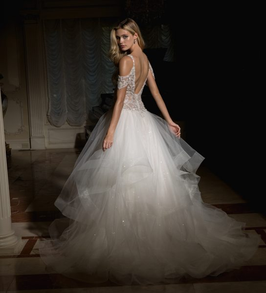 Off The Shoulder Embellished Bodice And Tulle Skirt Wedding Dress by Eve of Milady - Image 2