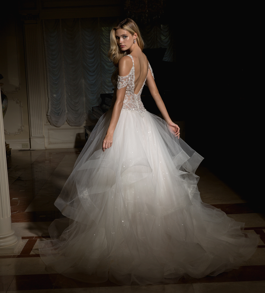 Off The Shoulder Embellished Bodice And Tulle Skirt Wedding Dress ...