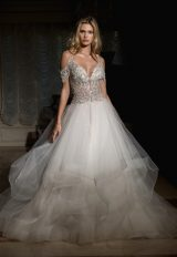 Off The Shoulder Embellished Bodice And Tulle Skirt Wedding Dress by Eve of Milady - Image 1