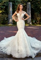Off The Shoulder Sweetheart Neck Beaded Lace Applique Mermaid Wedding Dress by Eve of Milady - Image 1