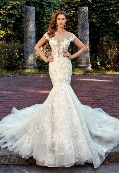 Off The Shoulder Sweetheart Neck Beaded Lace Applique Mermaid Wedding Dress by Eve of Milady