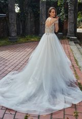 Off-the-shoulder V-neck A-line Wedding Dress With Beaded Bodice And Ruffle Skirt by Eve of Milady - Image 2