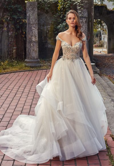 Off-the-shoulder V-neck A-line Wedding Dress With Beaded Bodice And Ruffle Skirt by Eve of Milady