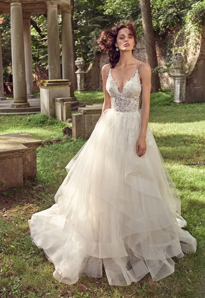 Sleeveless V-neck Beaded Bodice Ball Gown Wedding Dress by Eve of Milady