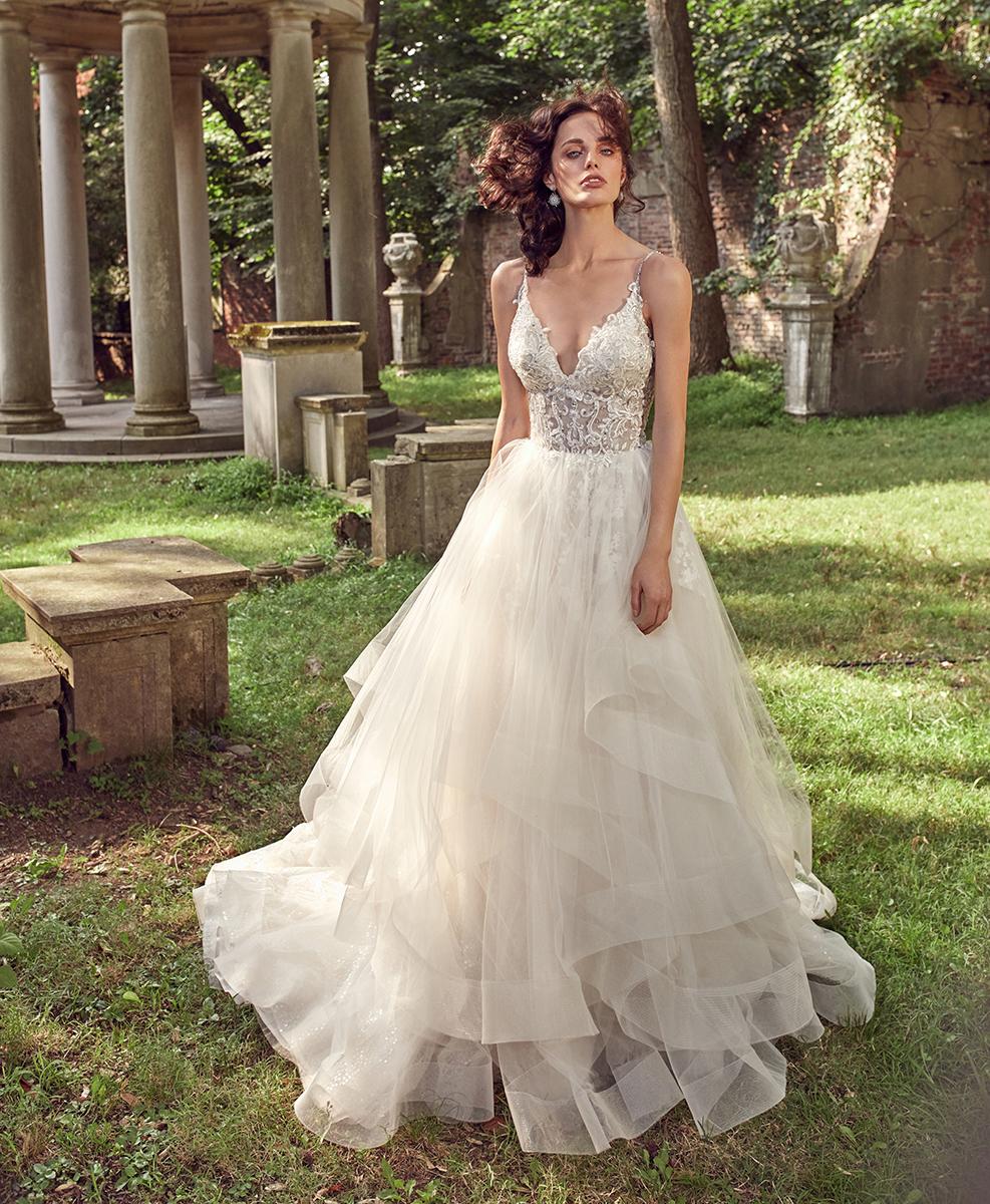 Sleeveless V-neck Beaded Bodice Ball Gown Wedding Dress