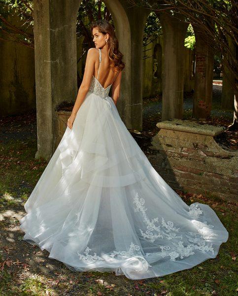 Sleeveless V-neck Beaded Bodice Ball Gown Wedding Dress by Eve of Milady - Image 2