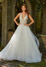 Sleeveless V-neck Beaded Bodice Ball Gown Wedding Dress by Eve of Milady - Image 1