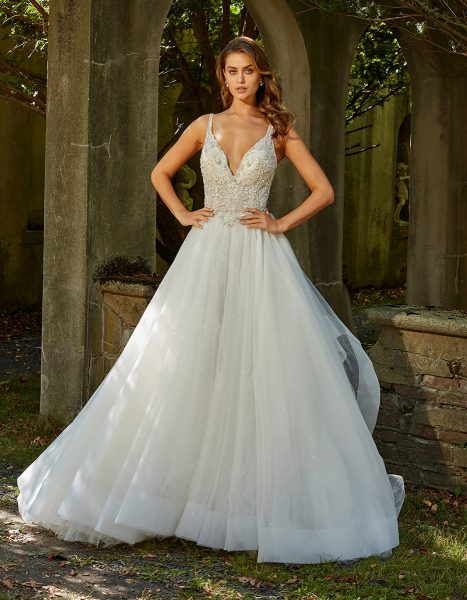 Sleeveless V-neck Beaded Bodice Ball Gown Wedding Dress by Eve of Milady - Image 1
