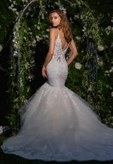 Spaghetti Strap V-neck Lace And Tulle Fit And Flare Wedding Dress by Eve of Milady - Image 2