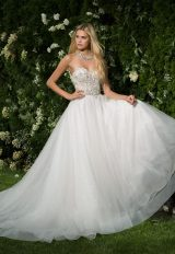 Strappless Beaded Sweetheart Bodice A-line Wedding Dress by Eve of Milady - Image 1