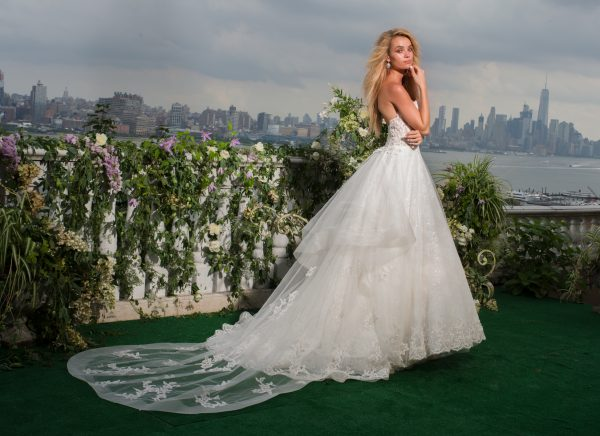 Strapless Sweetheart Beaded Lace And Tulle Fit And Flare Wedding Dress by Eve of Milady - Image 2