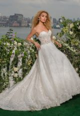 Strapless Sweetheart Beaded Lace And Tulle Fit And Flare Wedding Dress by Eve of Milady - Image 1
