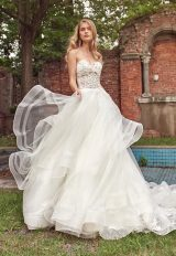 Sweetheart Neck Beaded Lace Bodice Strapless Wedding Dress by Eve of Milady - Image 1