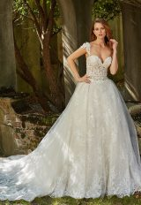 Sweetheart Neck Illusion Bodice With Beaded Lace And Full Skirt Wedding Dress by Eve of Milady - Image 1