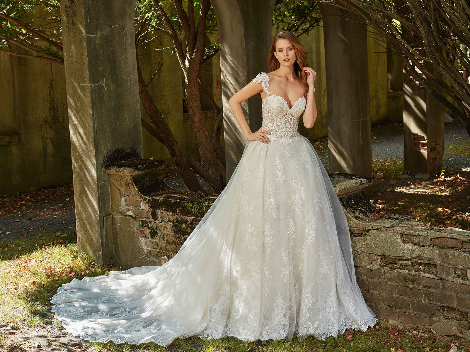 Sweetheart Neck Illusion Bodice With Beaded Lace And Full Skirt ...