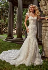 Sweetheart Neck With Embellished Spaghetti Straps And Beaded Lace Wedding Dress by Eve of Milady - Image 1