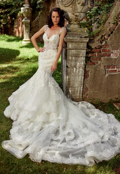 Sweetheart Neck With Embellished Spaghetti Straps And Beaded Lace Wedding Dress by Eve of Milady