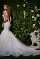 Sweetheart Neckline Cap Sleeve Beaded Bodice Wedding Dress by Eve of Milady - Image 2